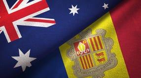 Australië en Andorra twee vlaggen textieldoek, stoffentextuur vector illustratie