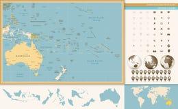 Australië en Oceanië detailleerden oud kleurenkaart en navigatiepictogram vector illustratie