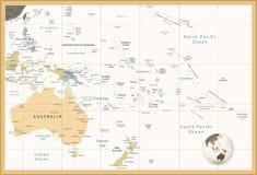 Australië en Oceanië detailleerden politieke kaart retro kleuren stock illustratie