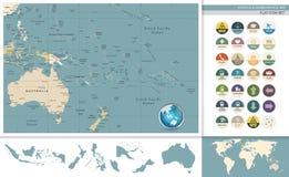 Australië en Oceanië detailleerden retro kaart en vlakke pictogramreeks stock illustratie