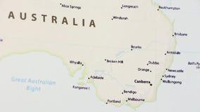 Australië met Sydney op een Kaart stock video