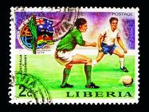 Australië - Oost-Duitsland, Voetbalwereldbeker 1974, Duitsland serie Royalty-vrije Stock Fotografie