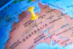 Australië op een kaart van Oceanië wordt gespeld dat Royalty-vrije Stock Foto's