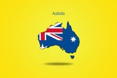 Australië op gele achtergrond wordt geïsoleerd die Stock Fotografie