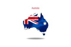 Australië op witte achtergrond wordt geïsoleerd die Stock Afbeeldingen