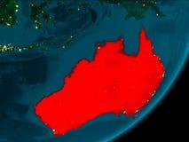 Australië van ruimte bij nacht Stock Foto