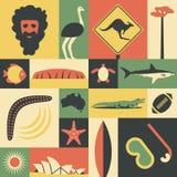 Australië, vector vlakke illustratie, pictogramreeks, oriëntatiepunt Mens, struisvogel, verkeersteken, boom, vissen, berg, schild Stock Fotografie