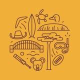 Australië, vectoroverzichtsillustratie, patroon boemerang, hoed, slaaf, brug, veenmol, koala, boombaobab, sport Royalty-vrije Stock Foto's