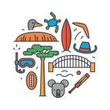 Australië, vectoroverzichtsillustratie, patroon, witte achtergrond: boemerang, hoed, slaaf, brug, veenmol, koala, boom Stock Foto
