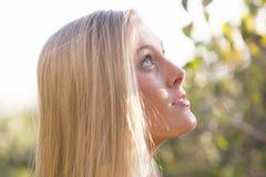Australiër die met Lang Blond Haar omhoog kijken Royalty-vrije Stock Afbeelding