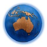 Australië op houten Aarde Stock Afbeeldingen