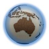 Australië op lichte Aarde Stock Afbeeldingen