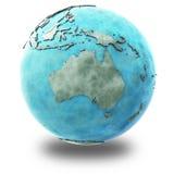 Australië op marmeren aarde Stock Afbeelding