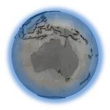 Australië op metaalaarde Stock Foto's