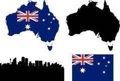 Australia. Continent, flag and Sydney silhouette Stock Image