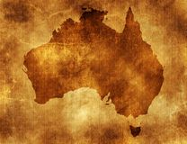Australia. The continent of australia on old paper background stock photo