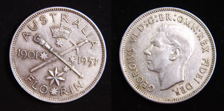 Australia 1951 Jubelee Silver Florin coin Royalty Free Stock Images
