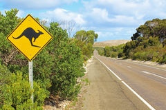 Australia. Kangaroo crossing sign by road in Australia Stock Image