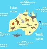 Australia animals world map for children. Animals world map for children. Australia. Vector illustration Stock Photos