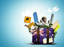 Australia. Retro suitcase with hat and attractions stock illustration