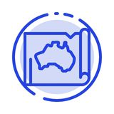 Australia, Australian, Country, Location, Map, Travel Blue Dotted Line Line Icon stock illustration