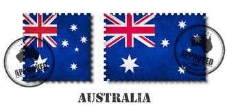 Australia or australian flag pattern postage stamp with grunge old scratch texture and affix seal on isolated background . Black c. Olor country name with stock illustration