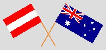 Australia and Austria. The Australian and Austrian flags. Official colors. Correct proportion. Vector. Illustrationn royalty free illustration