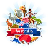 Australia background design. Australian traditional sticker symbols and objects.  Royalty Free Stock Image