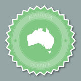 Australia badge flat design. Round flat style sticker of trendy colors with country map and name. Country badge vector illustration royalty free illustration