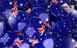 Australia Badges Background - Pile of Australian Flag Buttons. 3D Rendering Royalty Free Stock Photos