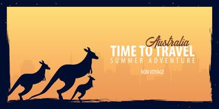 Australia banner. Time to Travel. Journey, trip and vacation. Vector flat illustration. Australia banner. Time to Travel. Journey, trip and vacation. Vector Stock Photo