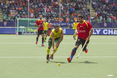 Australia beats Spain during the World Cup Hockey 2014 Royalty Free Stock Image