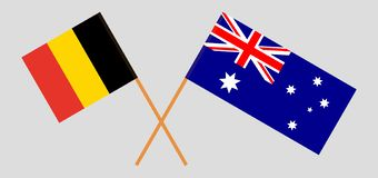 Australia and Belgium. The Australian and  Belgian flags. Official colors. Correct proportion. Vector. Illustrationn vector illustration