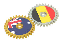 Australia and Belgium flags on a gears, 3D rendering Stock Photo
