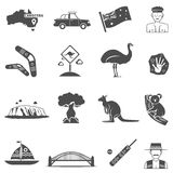Australia Black White Icons Set Royalty Free Stock Images