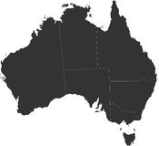 Australia blind map. Blind map of Australia with country borders. Names of the states and their the main cities are in an additional format (. AI) in the latent