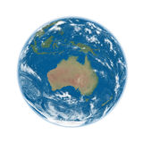 Australia on blue Earth. Australia on blue planet Earth isolated on white background. Elements of this image furnished by NASA Royalty Free Stock Photo