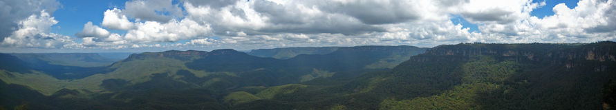 Australia blue mountains. Shadows of the clouds seen from lookout point royalty free stock image