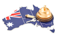 Australia booking concept. Australian flag with hotel key and re Stock Image