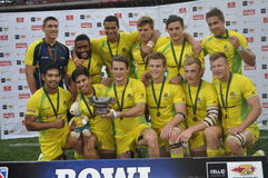 Australia Bowl Cup winners. Australia beat samoa 26 - 14 to win the bowl cup trophy at the cell c nelson  mandela bay south africa sevens Royalty Free Stock Photography