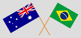 Australia and Brazil. The Australian and Brazilian flags. Official colors. Correct proportion. Vector. Illustrationn royalty free illustration