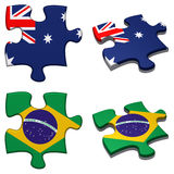 Australia & Brazil puzzle. 3d rendered Australia and Brazil puzzles isolated vector illustration