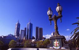Australia: Bridge over Yarra-River in Melbourne. Australia: Skyline of Melbourne at the Bridge over the Yarra-River stock images