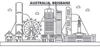 Australia, Brisbane architecture line skyline illustration. Linear vector cityscape with famous landmarks, city sights. Design icons. Editable strokes Royalty Free Stock Photo