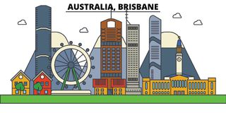 Australia, Brisbane Arquitectura del horizonte de la ciudad Foto de archivo libre de regalías