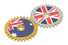Australia and Britain flags on a gears, 3D rendering. On white background Stock Image