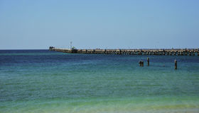 Australia Busselton Jetty. In Australia view of one longest wood world Jettys at Busselton in Geographe Bay -western part of the country. The Jetty have 1841 royalty free stock photo