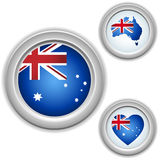 Australia Buttons with heart, map Royalty Free Stock Photography