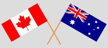 Australia and Canada. The Australian and Canadian flags. Official colors. Correct proportion. Vector. Illustrationn stock illustration