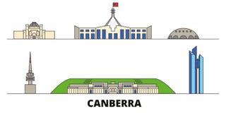 Australia, Canberra flat landmarks vector illustration. Australia, Canberra line city with famous travel sights, skyline. Australia, Canberra flat landmarks vector illustration